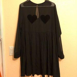 Preowned Lazy Oaf Black Sheer Flock Heart Dress SM
